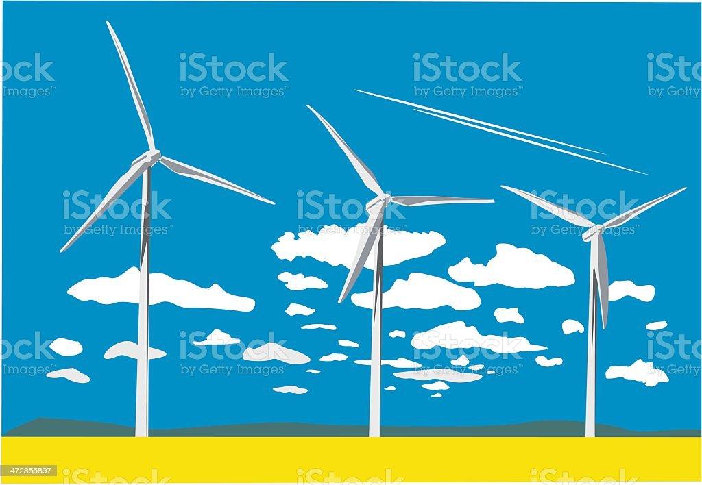 Wind Turbines vector art illustration