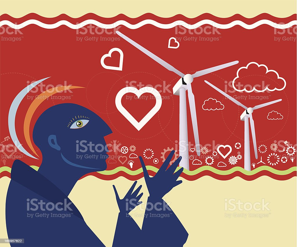 Wind Turbines with People royalty-free stock vector art