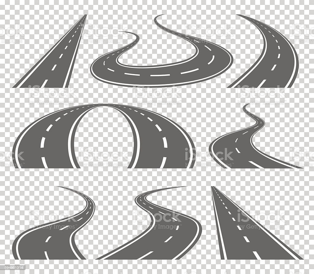 Winding curved road or highway with markings. Direction, transportation set vector art illustration
