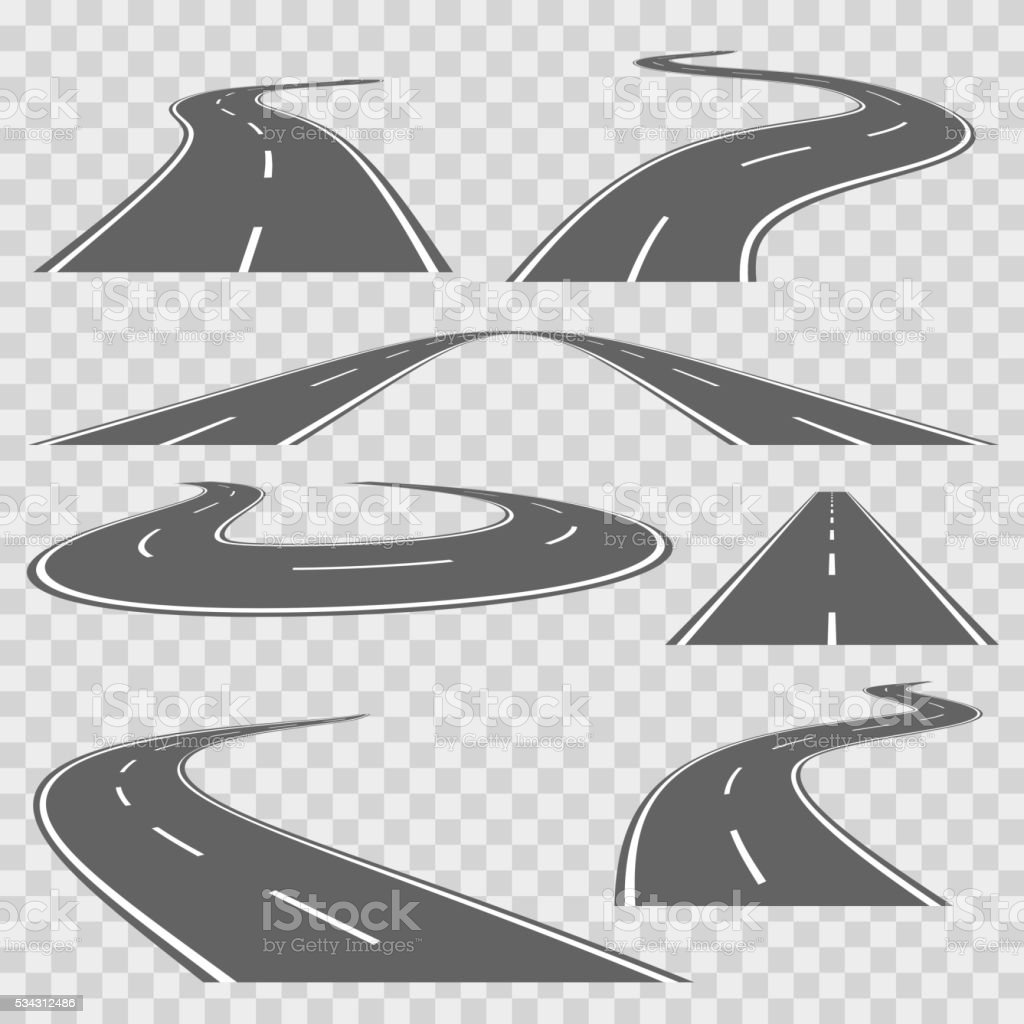 Winding curved road or highway with markings. Vector set vector art illustration