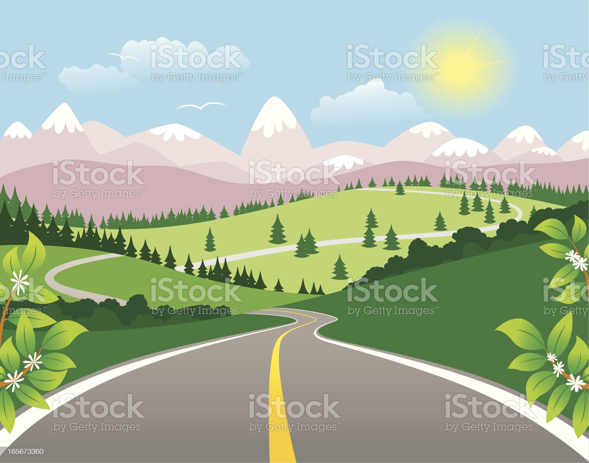 Winding mountain highway royalty-free stock vector art