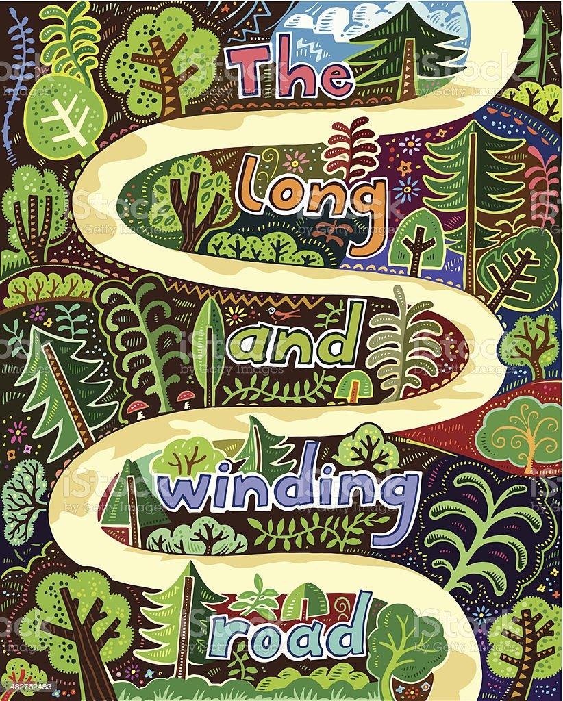 Winding path vector art illustration