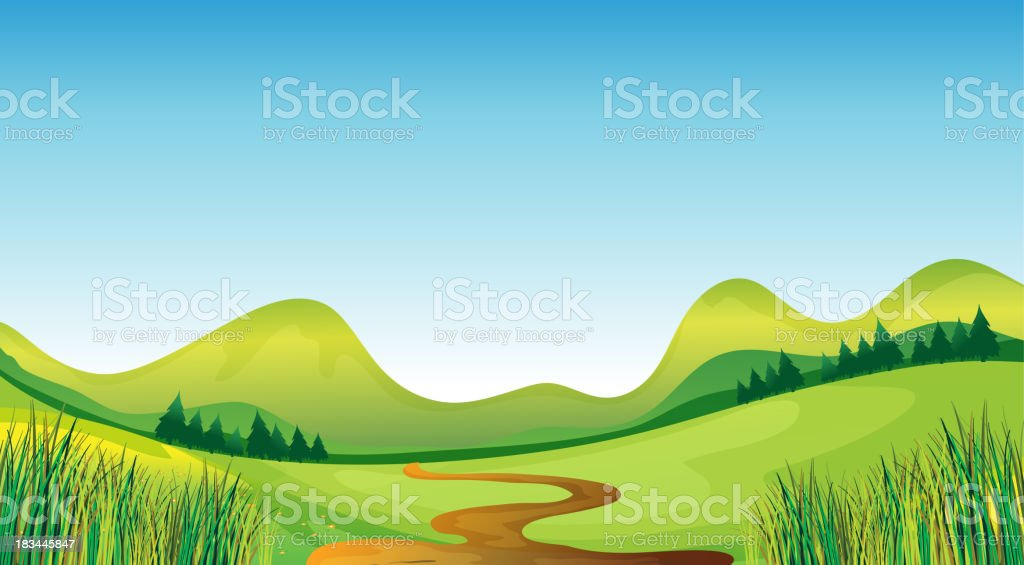 winding road and mountains royalty-free stock vector art