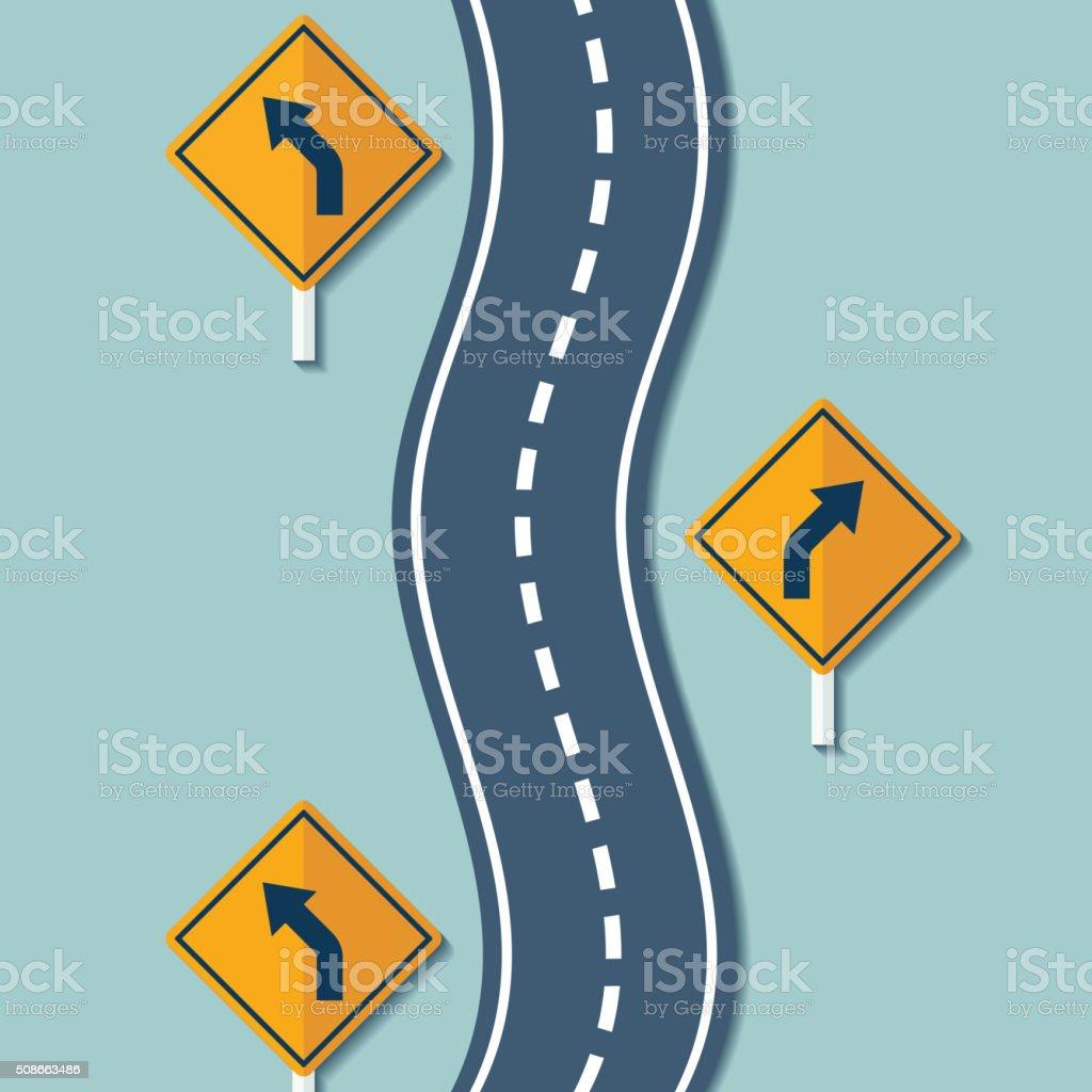 Winding road and warning signs vector art illustration