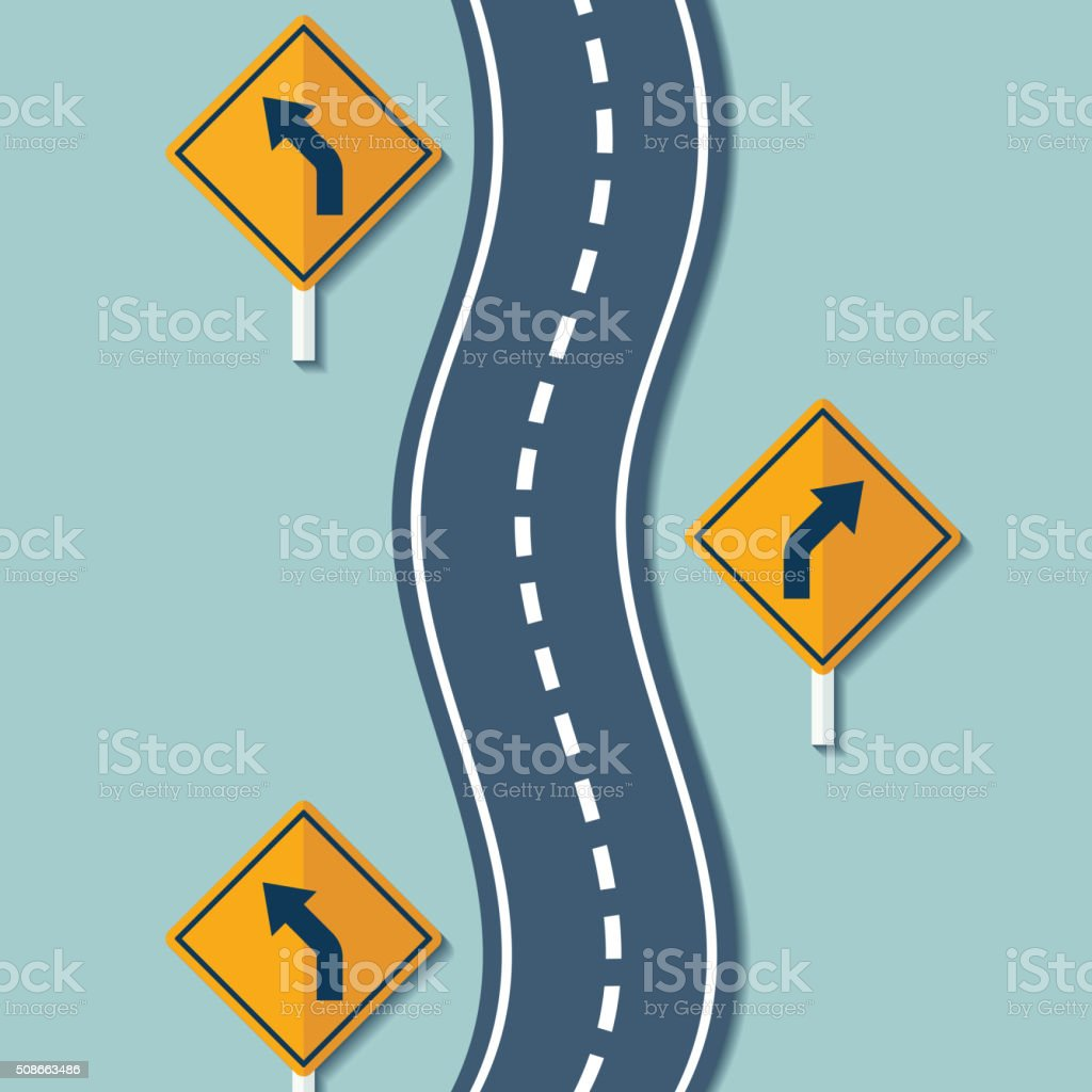 Winding road and warning signs vector art illustration