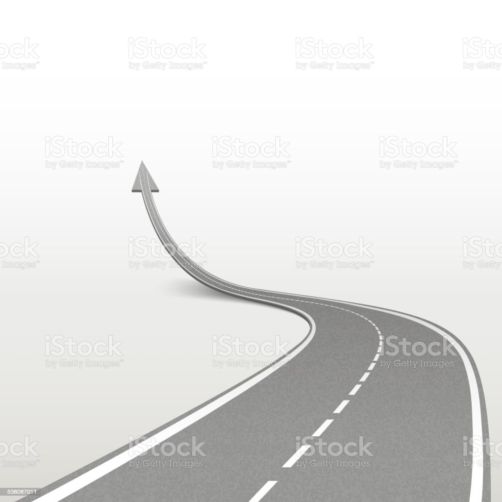 winding road in arrow shape vector art illustration