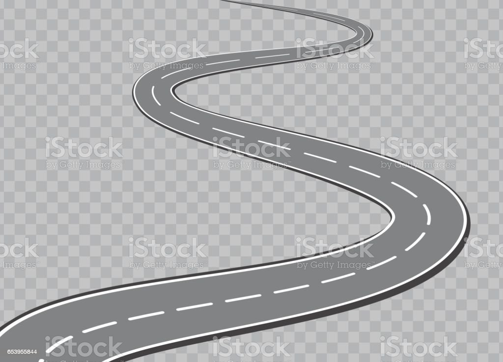 Winding Road Isolated Transparent Special Effect. Road way location infographic template vector art illustration
