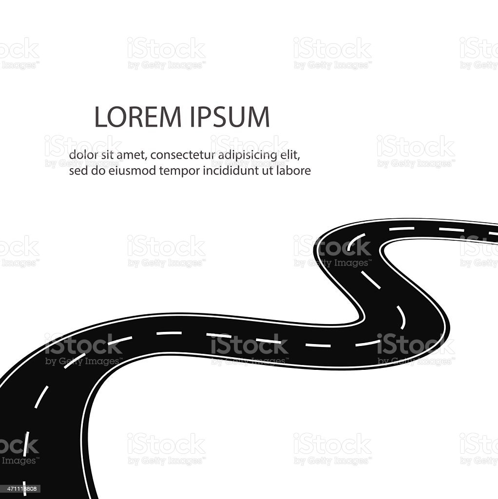 Winding road  or highway isolated vector art illustration