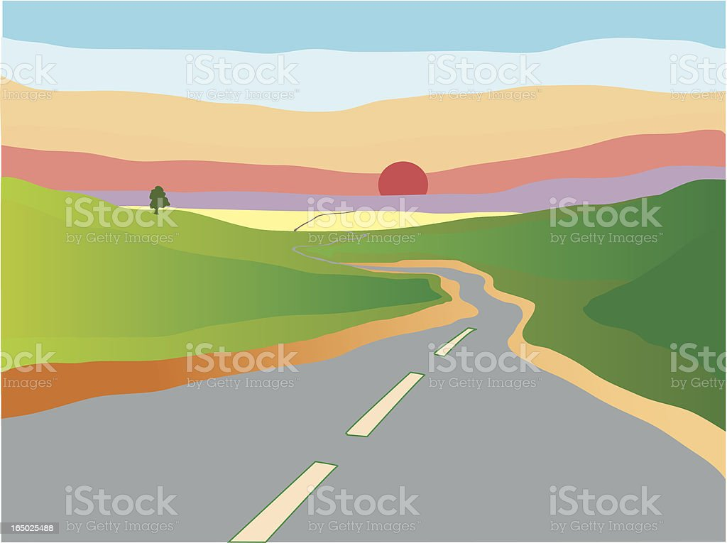 winding road vector art illustration