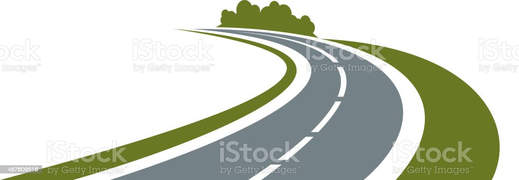 Winding road with green roadside vector art illustration