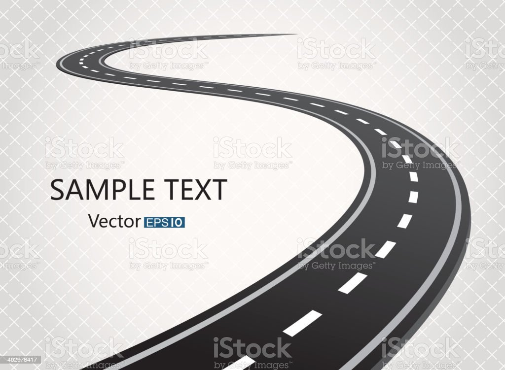 Winding single carriageway road vector art illustration