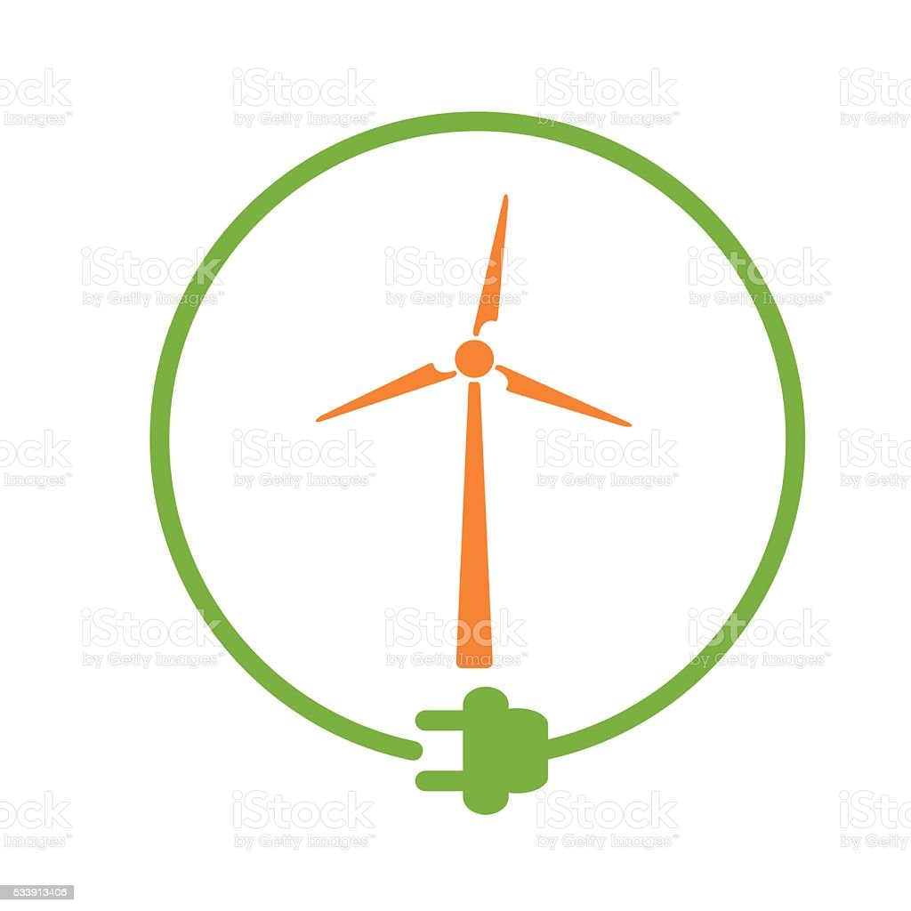 Windmill as energy source vector art illustration