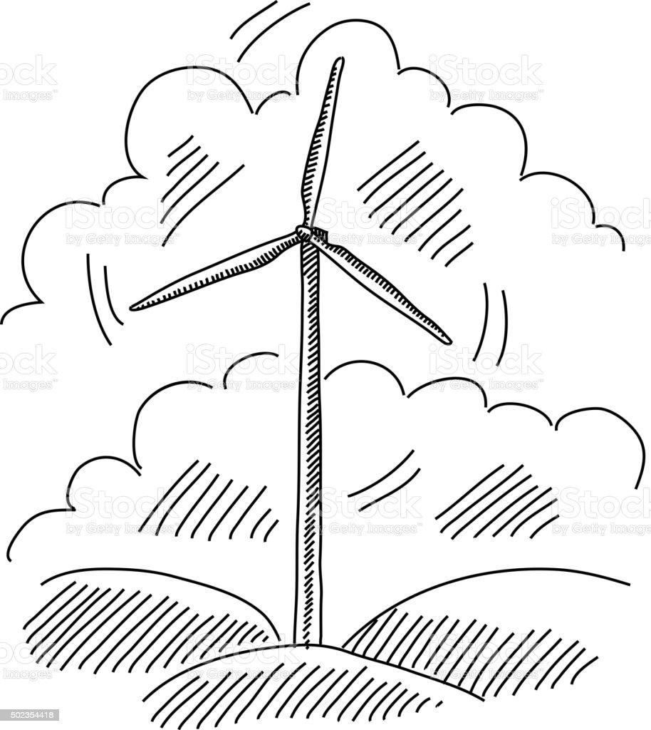 Windmill Drawing vector art illustration