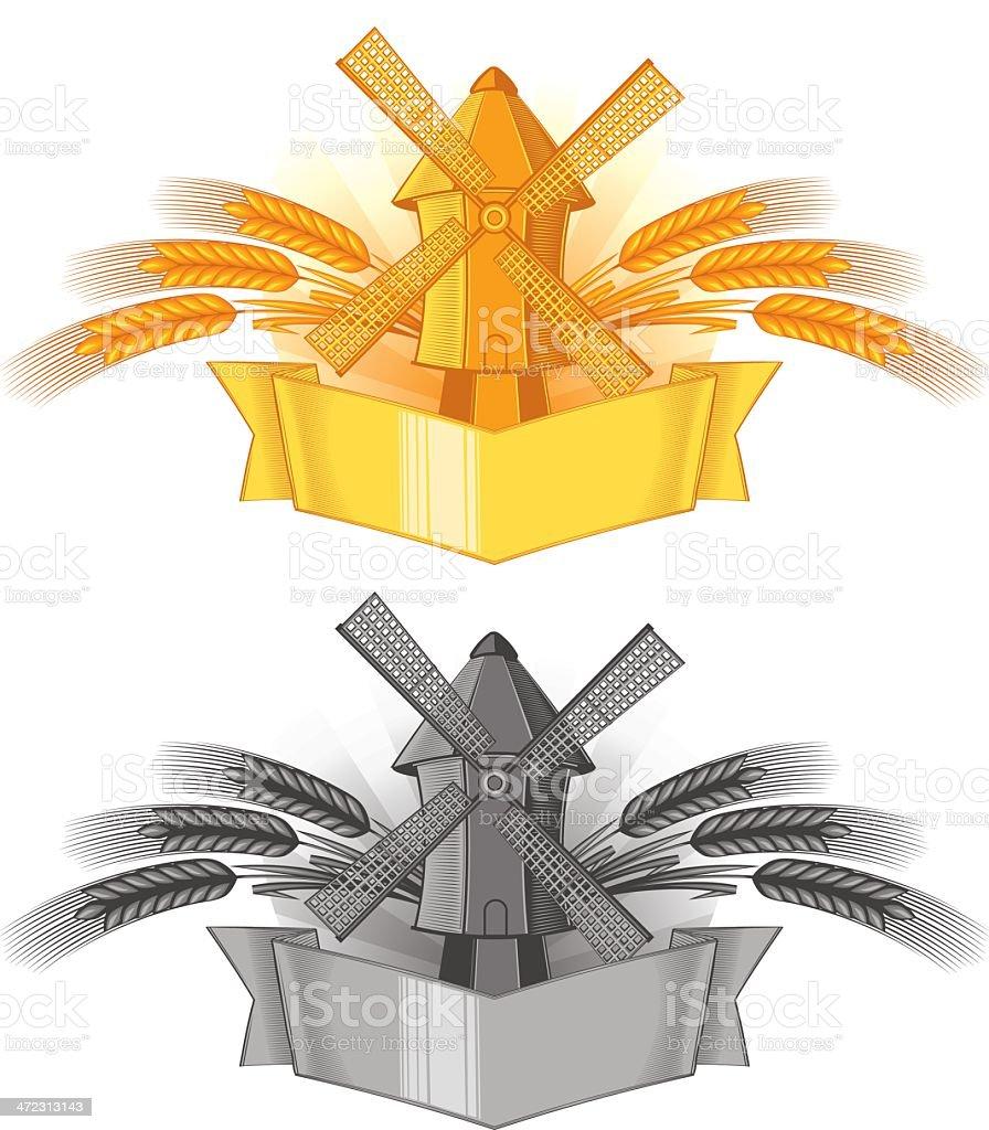 Windmill emblem royalty-free stock vector art