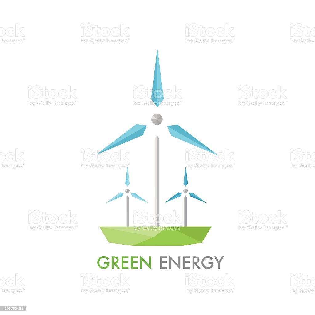 Windmill for electric power production logo. vector art illustration