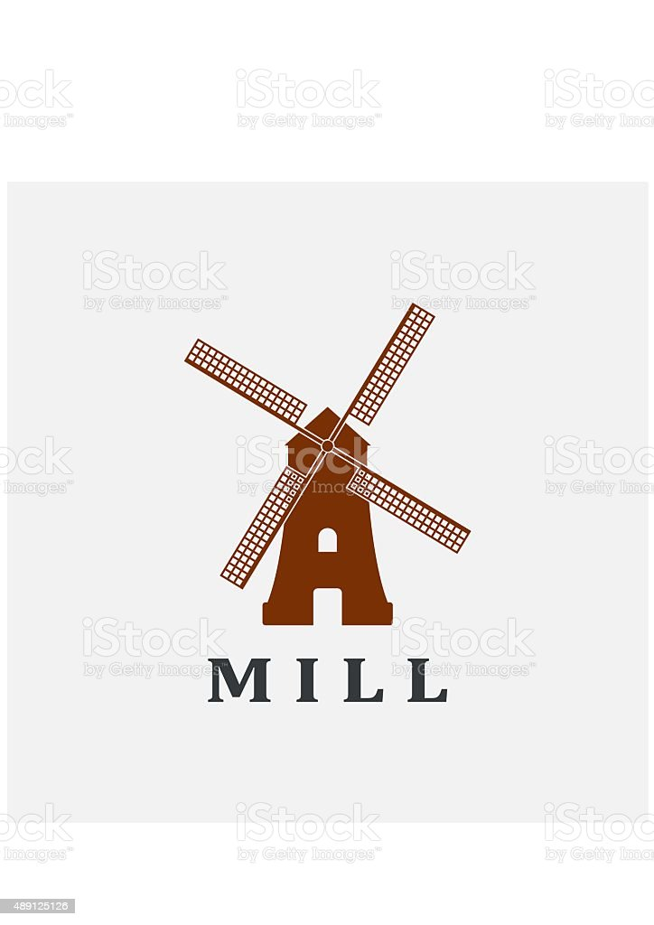 Windmill icon or sign isolated on grey background. vector art illustration