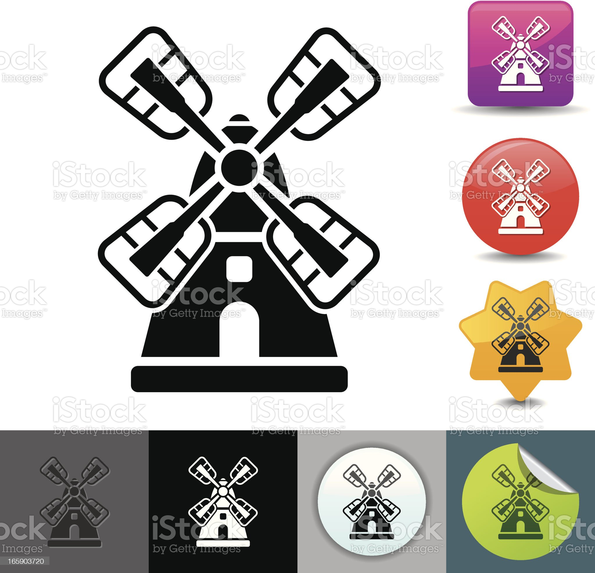 Windmill icon | solicosi series royalty-free stock vector art