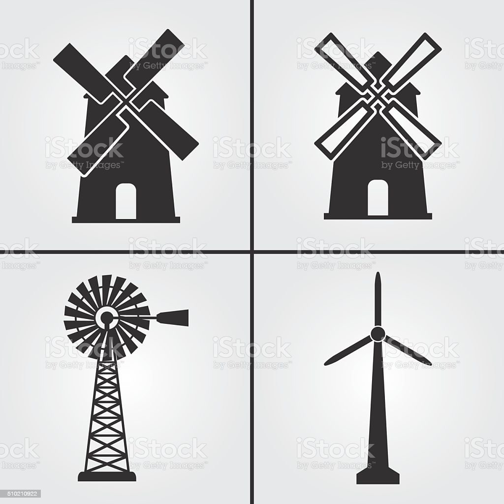 Windmill Icons vector art illustration