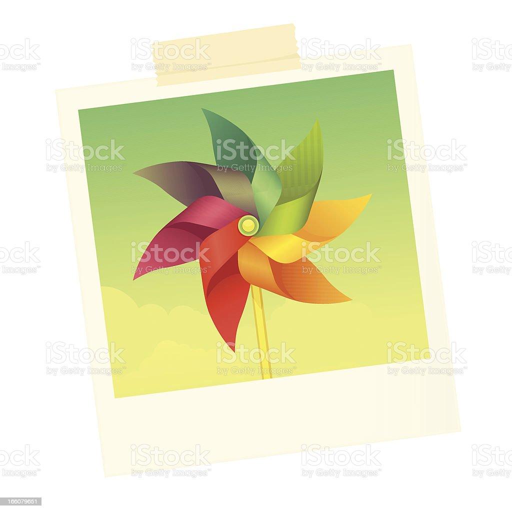Windmill photo vector art illustration