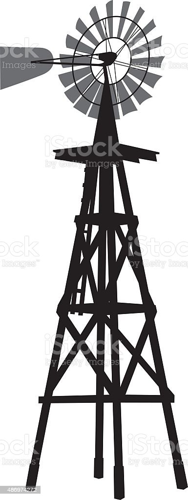 Windmill Silhouette vector art illustration