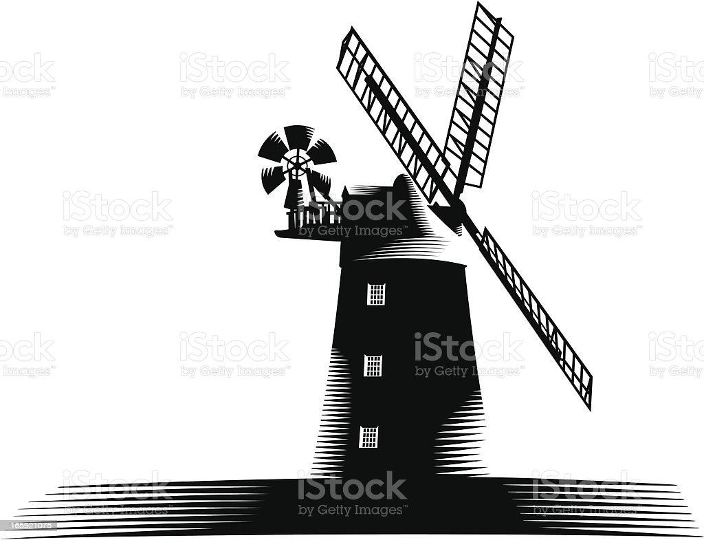 Windmill woodcut royalty-free stock vector art