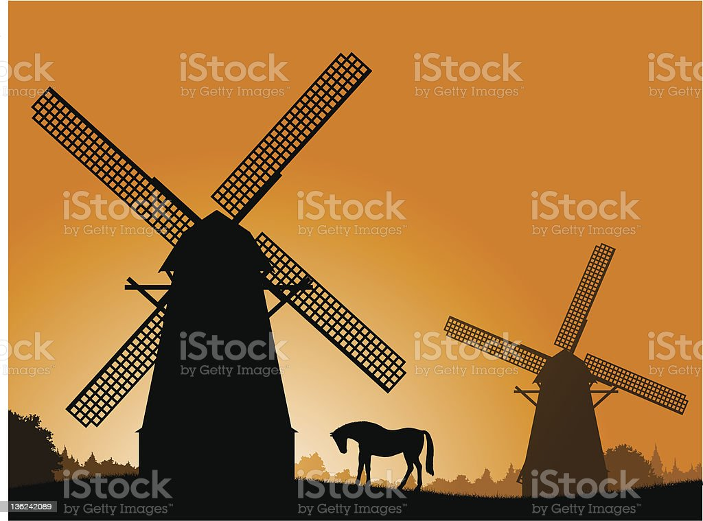 Windmills at Sunset. royalty-free stock vector art