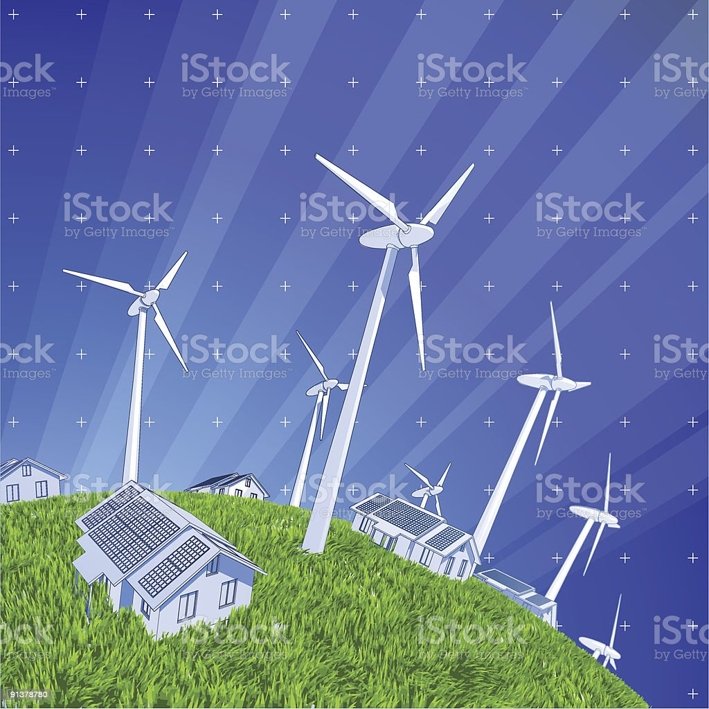 windmills, houses & green grass vector art illustration
