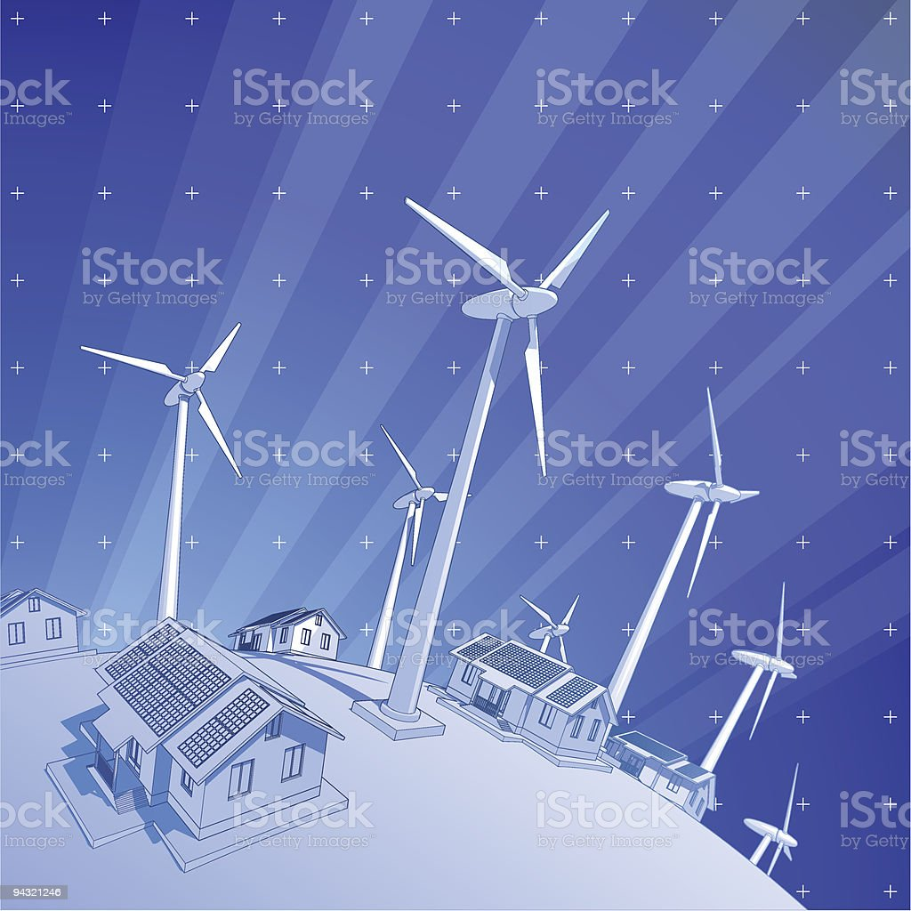 windmills, houses & rays of light vector art illustration