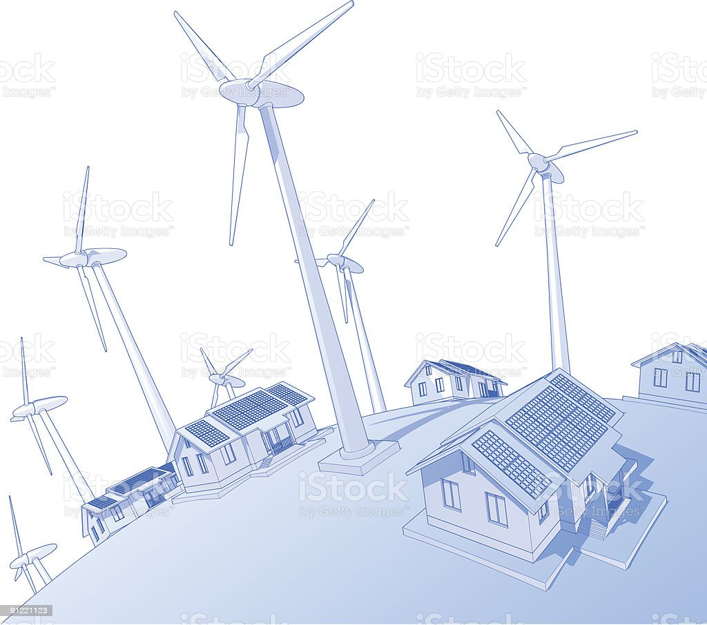 windmills & houses vector art illustration