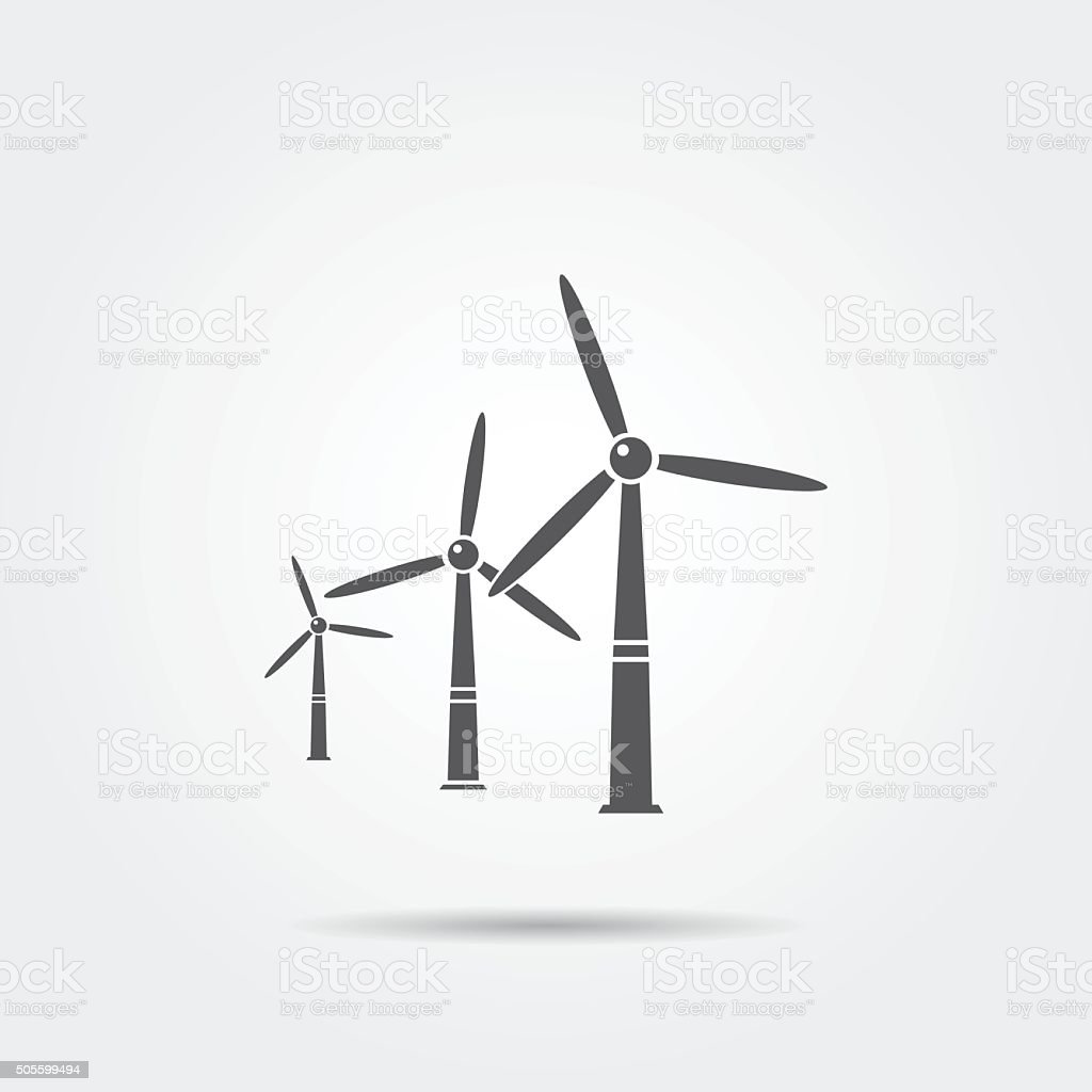 Windmills icon vector art illustration
