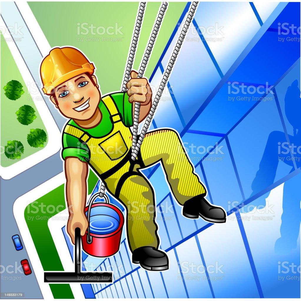 Window cleaner boy vector art illustration