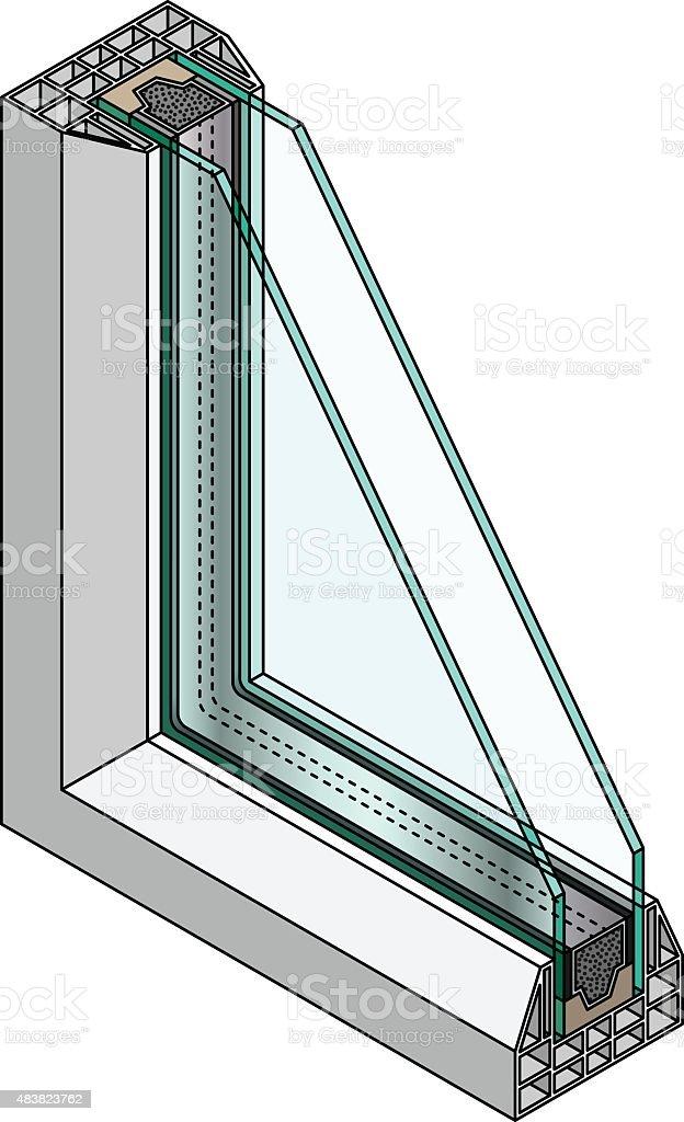 Window Glazing Diagram vector art illustration