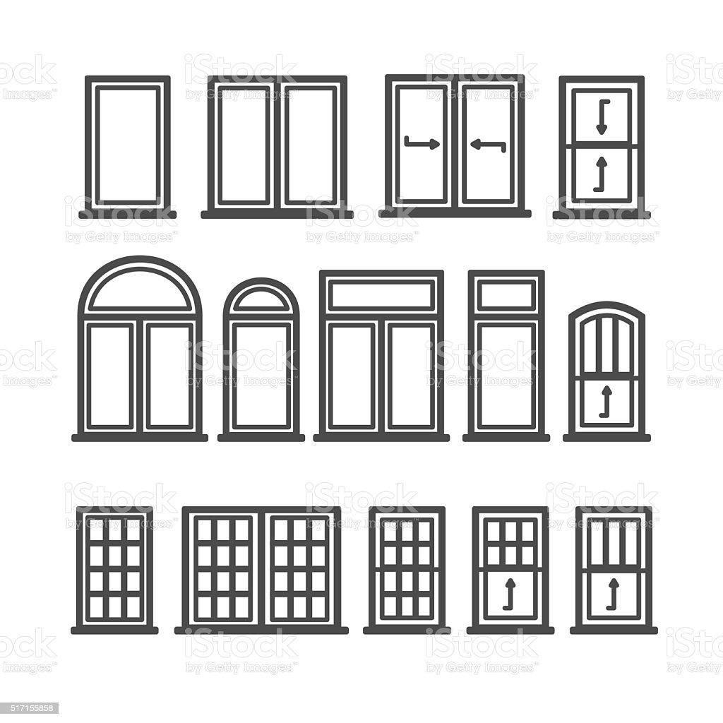 Window Icons Set vector art illustration
