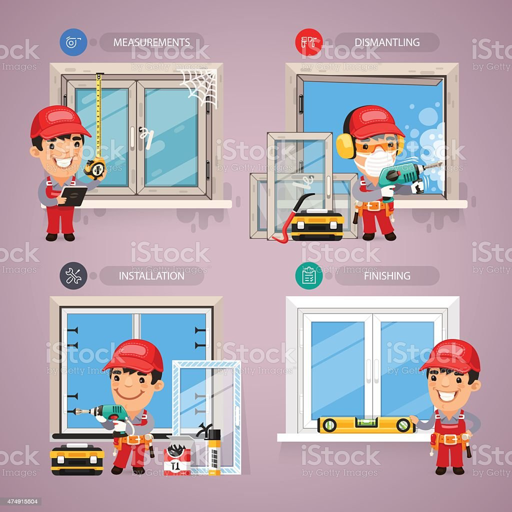 Window Installation with Handyman Carpenter vector art illustration