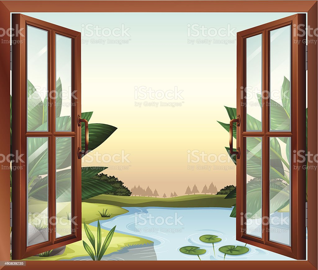 Window near the pond royalty-free stock vector art