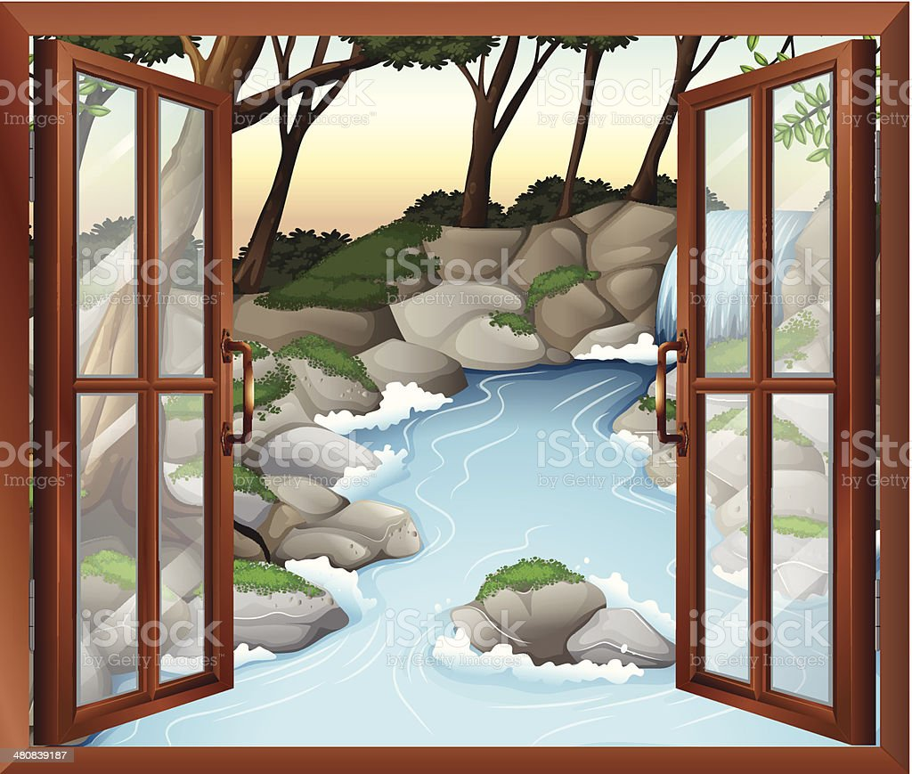 Window near the waterfalls royalty-free stock vector art