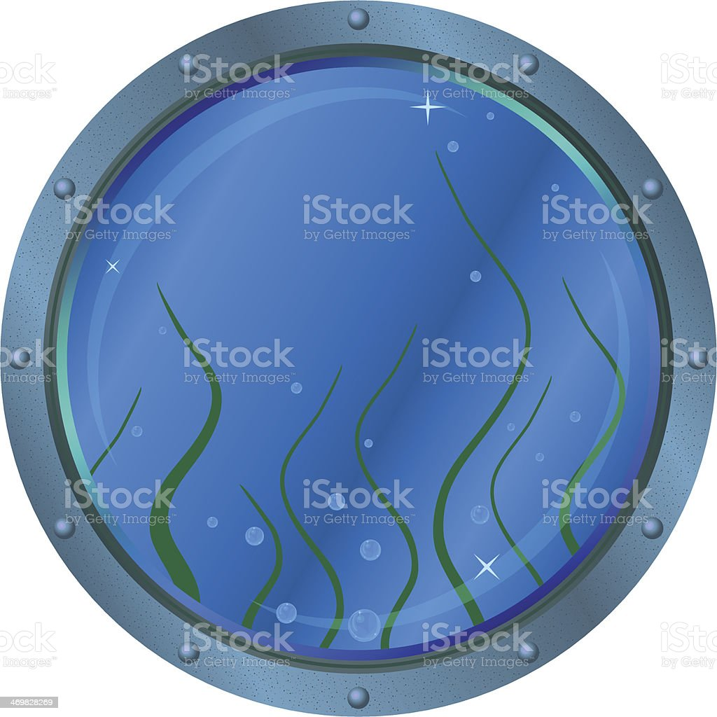 Window porthole with seaweed royalty-free stock vector art