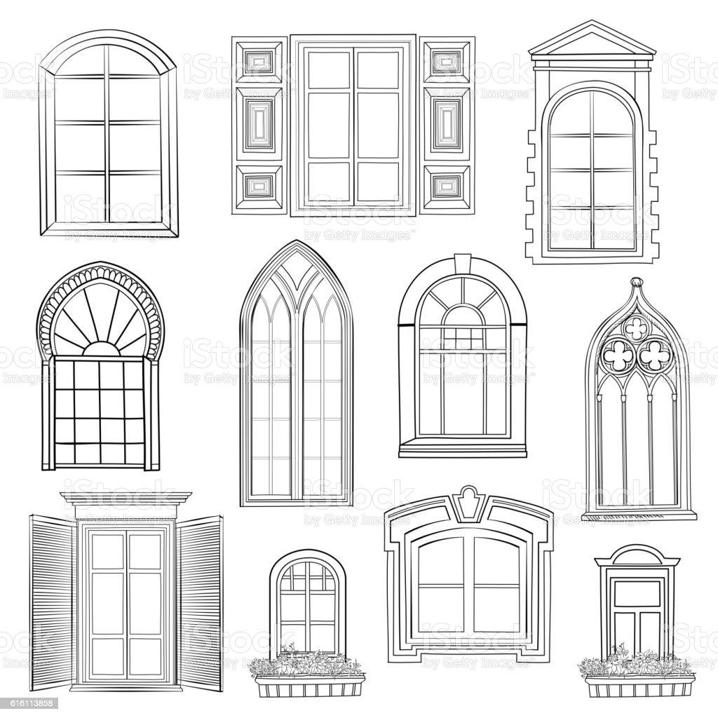 Window set. vector art illustration