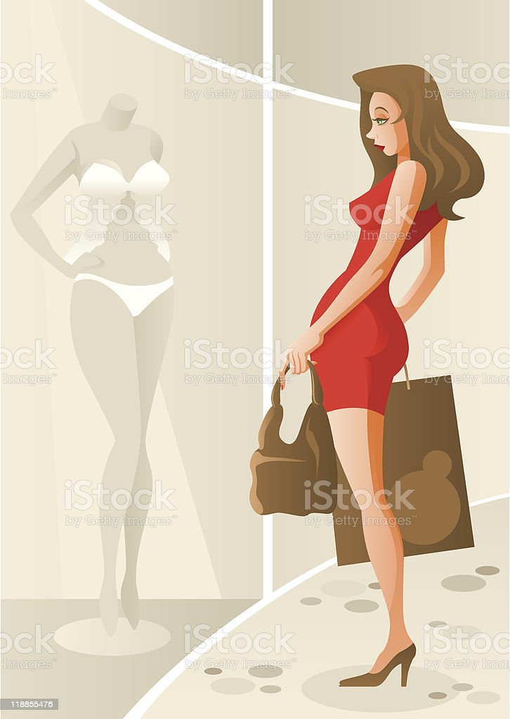 Window Shopping royalty-free stock vector art