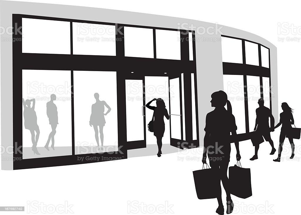 Window Shops Vector Silhouette vector art illustration