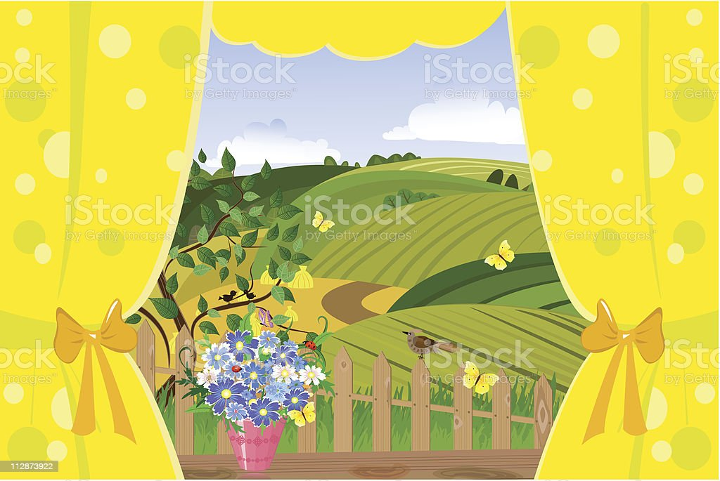 window to the summer landscape royalty-free stock vector art