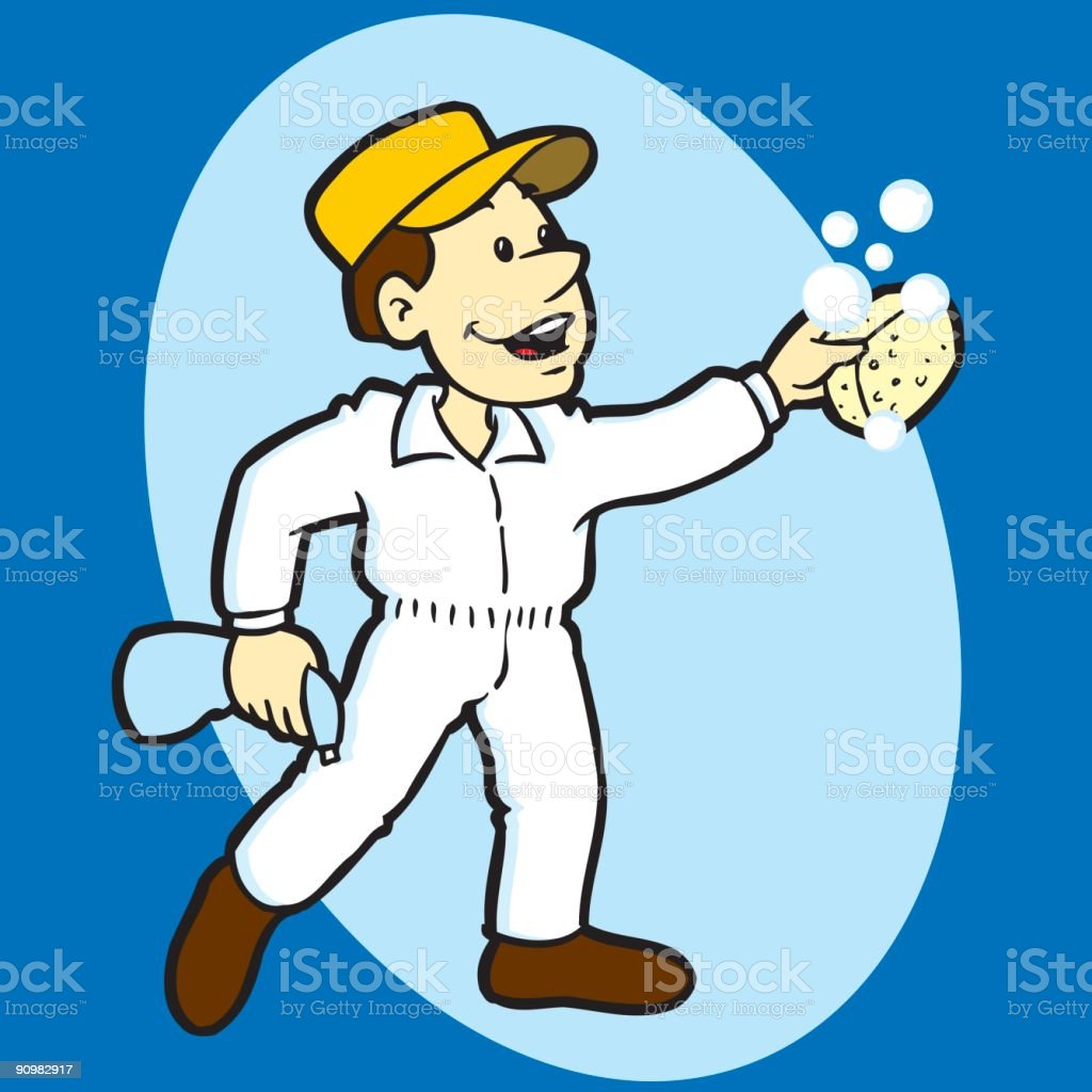 Window Washing Worker royalty-free stock vector art