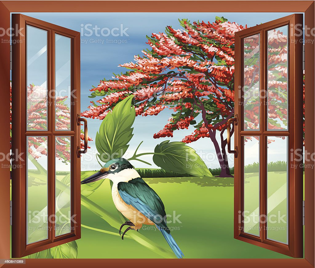 Window with a view of the bird royalty-free stock vector art