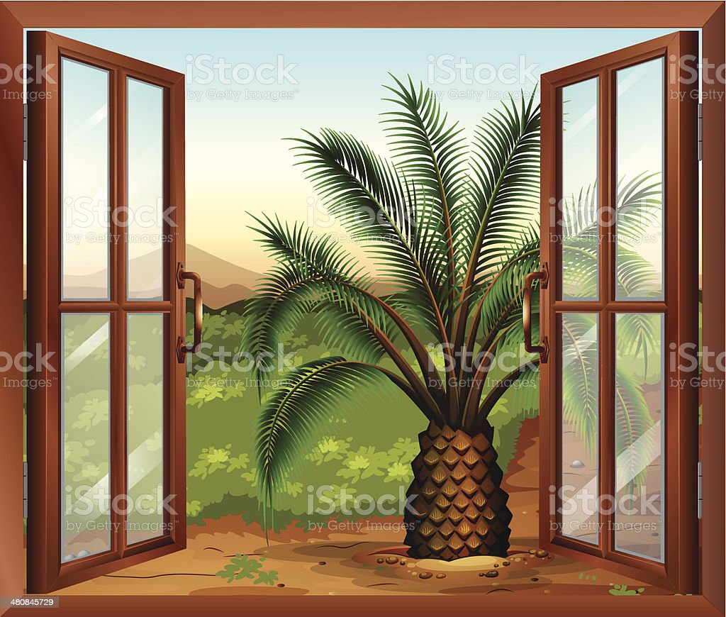 Window with a view of the palm plant royalty-free stock vector art