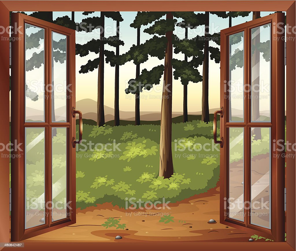 Window with a view of the trees royalty-free stock vector art
