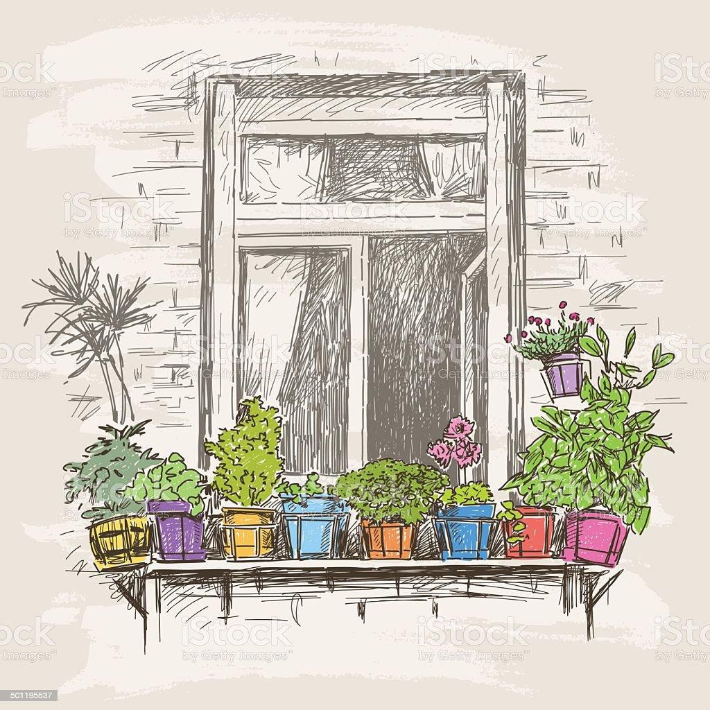 window with flowers vector art illustration