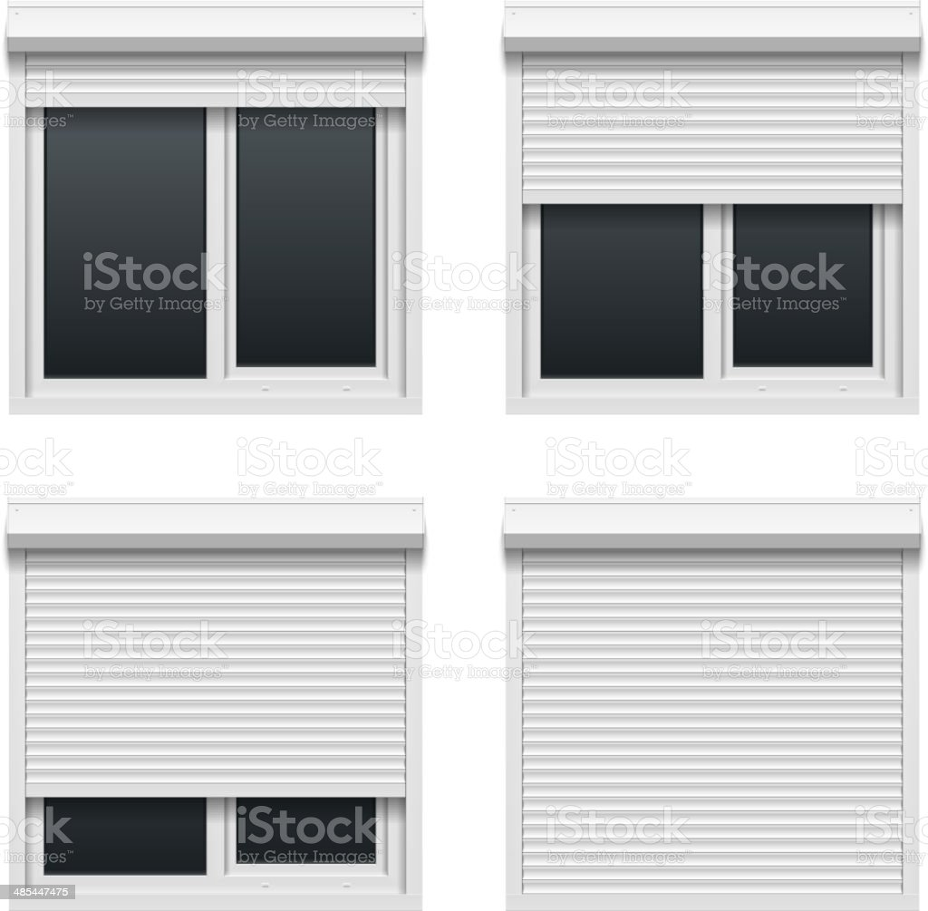 Window with roller shutters vector art illustration