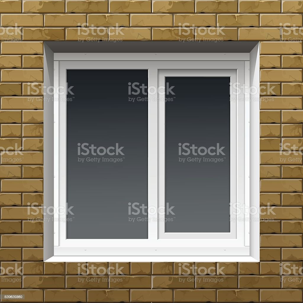 Window with Rolling Shutters on a Brick Wall vector art illustration