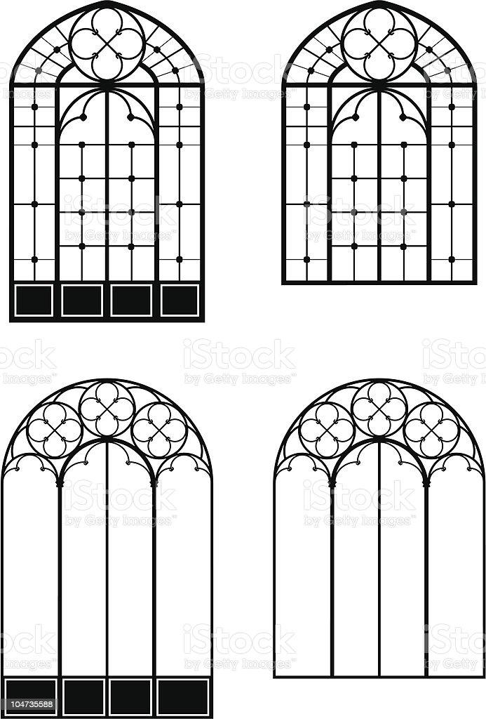 Windows and door-windows vector art illustration