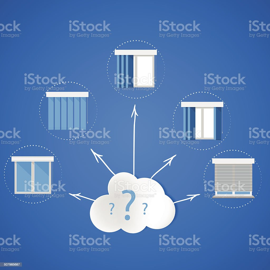 Windows and louvers quest. Optimal choice of windows for home vector art illustration